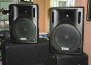 Parlantes, amplificados equipos de audio, luz lasser