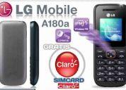 Aparelho celular lg a180a claro com chip solo u$ 55,00 + envio