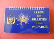 Vendo álbunes a todo color para colección de billetes ecuatorianos y americanos.