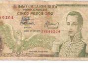 Vendo 3 billetes de colombia de 5000, 10 y 5 pesos oro
