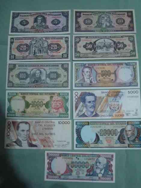 Vendo monedas y billetes antiguos del Ecuador