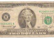 Tengo a la venta 2 billetes de 2$ de los eeuu uno del aÑo1976 y de 2003