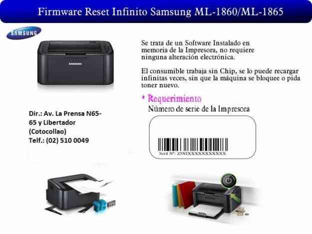 Firmware Reseteo Ml-1865 permitiendo Recarga de Toner Infinita 24,00USD