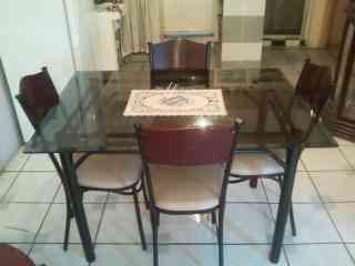 Juego de comedor mesa de vidrio guayaquil doplim 4888 for Juego de comedor de vidrio precios