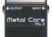 Vendo pedal boss metal core ml-2 para guitarra eléctrica, 110 dólares buen estado!!!!!