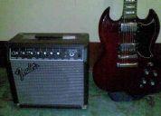 Guitarra electrica epiphone sg-g400 cherri + amplif fender frontman 15r