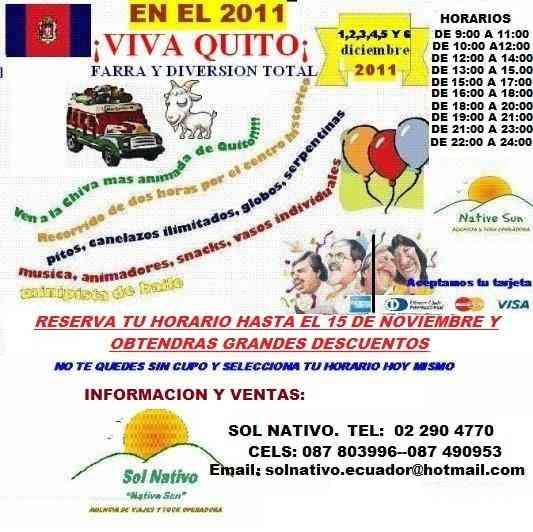 ULTIMOS HORARIOS DISPONIBLES DE TU CHIVA NATIVA 2011