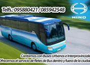 Ofrecemos el servicio de fletes de bus dentro y fuera de la ciudad
