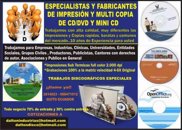 INDUSTRIA DE LA IMPRESIÓN y COPIA  DEL CD/DVD
