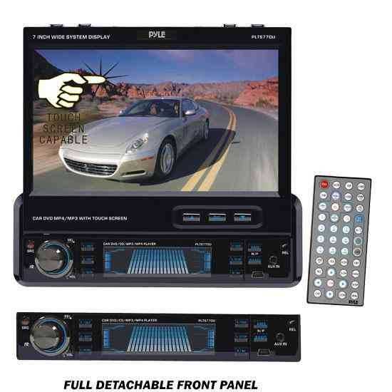 Radio para carro Marca PYLE  7'' TFT Touch Screen DVD/VCD/MP3/MPEG4/CDR/USB Player & AM/FM