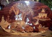 Incrustación en madera de sándalo, rosa y márfil - 50 aÑos de antigÜedad