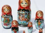 Munecas rusas, hechas y pintadas a mano,