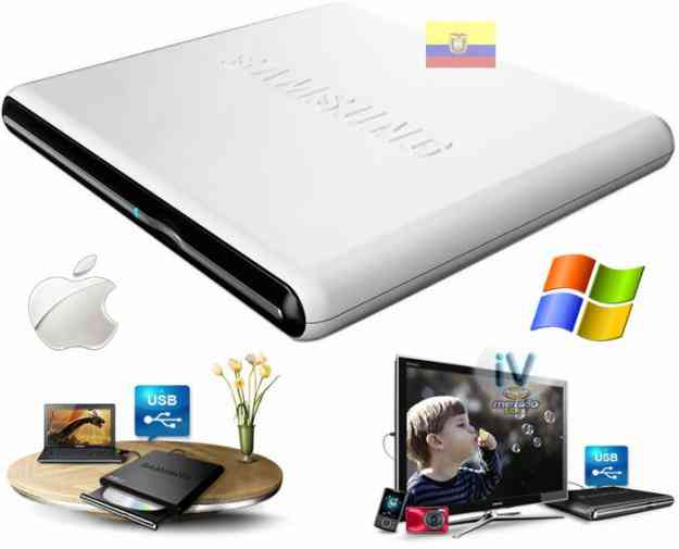 Dvd Writer Externo Usb Samsung Blanco Doble Capa / Exclusivo Windows Mac