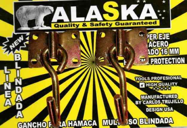 ganchos de hamaca, picaportes, aldabas, excabadoras marca alaska