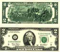 vendo un billete de dos dolares