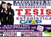 Asesoramiento metodológico, desarrollo de tesis, proyectos, guias de educacion, estadistica