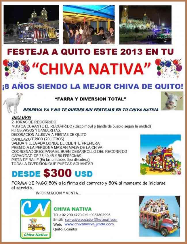 En Diciembre Chiva Nativa Festeja a Quito.