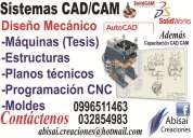 Diseño de máquinas cad, diseño industrial moldes cam cnc tesis solidworks