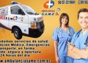 Servicios de ambulancias para traslados interhospitalarios, cobertura de eventos, atencion medica