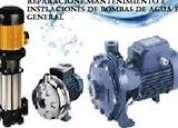 reparaciones , mantenimiento e instalaciones de bombas de agua industriales y domesticas