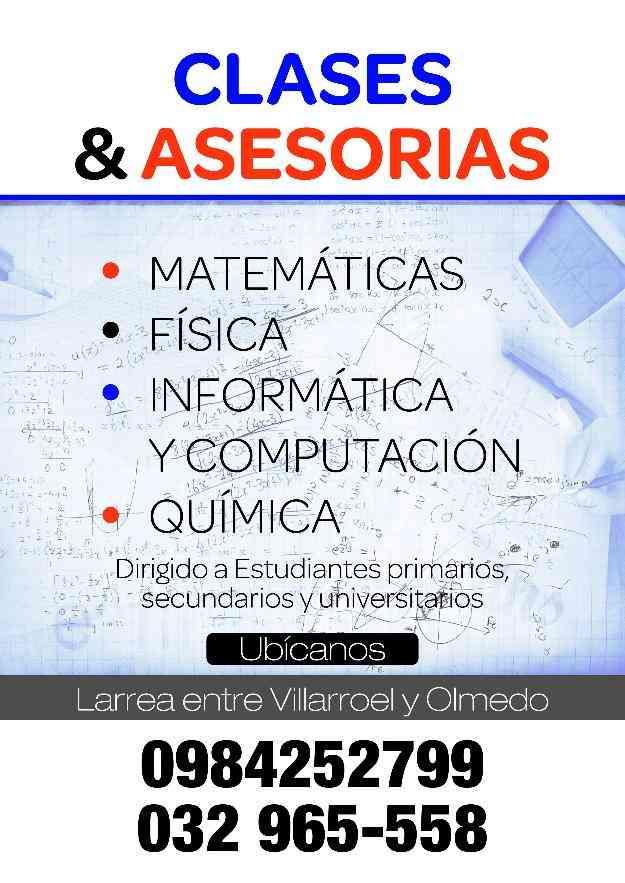 Se imparten clases y asesorioas de Matemática, Química, Fisica, Informática