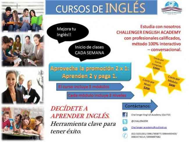 Cursos de inglés 2x1. Challenger English Academy.