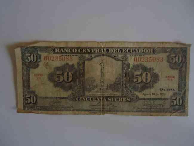 Billete antiguo 50 sucres Edicion Limitada American Bank Note Company