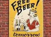 Free beer tomorrow letrero metalico bar importado 35,00