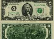 Vendo billetes de $2 dolares para la buena suerte