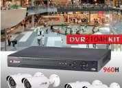Kit 4 camaras de video vigilancia  2 aÑos de garantÍa instalacion grratis