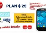 Plan 25 ilimitado de redes sociales