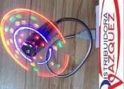 Ventilador luz led reflector rgb multicolor flexible usb