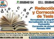 Traduccion y corrección gramatical de estilo y asesorías de tesis, tesinas.  normas apa