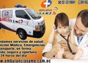 Ambulancias same, cobertura de eventos deportivos extremos, traslados interhospitalarios, emergencia