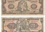 Tengo a la venta billetes de 5, 10, 20, 50, 100, 500, 1000, 5000, 10000, 20000 y 50000 suc