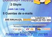 Venta de dominio mas hosting por un aÑo  de promocion por  noviembre y diciembre  del 2010