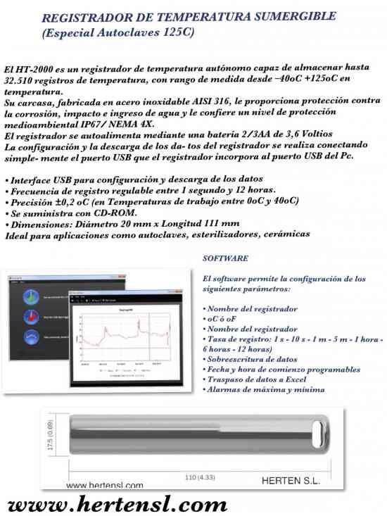REGISTRADOR DE TEMPERATURA SUMERGIBLE ESPECIAL AUTOCLAVES (HASTA 125ºC)