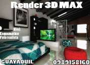 Render 3d max - sketchup, clases  guayaquil