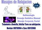 Masajes de relajación muscular, terapeuticos y reflexolojia