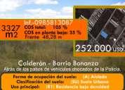 Terreno de venta calderon calle landazuri  252.000  barrio bonanza