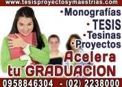 Asesoria y elaboracion tesis profesionales, asesoría presencial y en linea 0982713022. maestrias