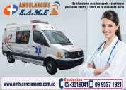 Servicio de ambulancias same. cobertura de eventos sociales deportivos. traslado de pacientes.